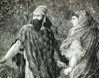 Antique Print of Elijah, Ahab, and Jezebel in Naboth's Vineyard. Steel Engraving Published in 1880
