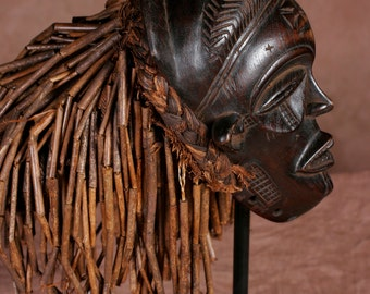 African Chokwe Mask With Braids & Locks - Congo DRC