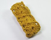 Crochet Cotton Headband Gold Comfortable Stretchy Hair Band Adjustable
