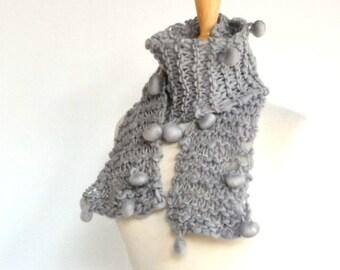 Gray Hand Knit Bobble Scarf, Designer Boutique Yarn, Unique OOAK