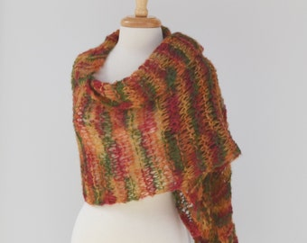 Autumn Colored Knit Wrap...Alpaca Rectangular Shawl Scarf