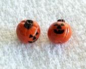 Halloween Jack O'Lantern BABY Polymer Clay Beads