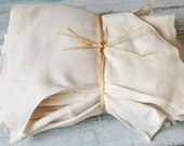 Organic cotton Cream 1x1 Rib and Hemp Jersey Fabric Scraps Assorted Sizes