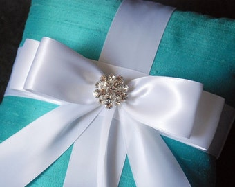 Wedding Ring Pillow - Aqua Blue Ring Bearer Pillow with White Bow and Rhinestones - Helen