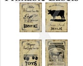 Labels Printable 4 Per Sheet , Primitive Grungy Vintage Ads Milk Biscuits Pie Toys