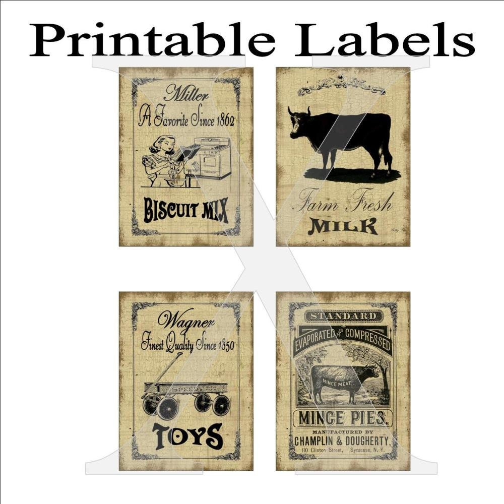 Labels Printable 4 Per Sheet Primitive Grungy Vintage Ads