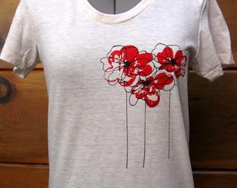Poppies T Shirt Women Oatmeal sizes S through XLarge
