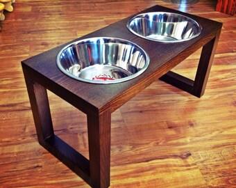 Raised Dog Feeder 2 Qt 12 Inch Double - Westport Design - Elevated Pet Feeder - Raised Dog Bowl - Elevated Dog Bowl - Dog Bowl Stand