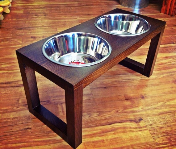 Perfect Wood Dog Dish Holder Reclaimed Oak Barn Beam 2 By