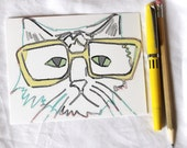 cat face wearing yellow glasses postcard set of 2 - for your visually challenged, feline-loving penpal. ok, for your hipster penpal.