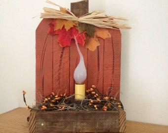 Primitive Decorative Pumpkin Light - Rustic Decor