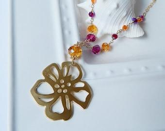 Hibiscus Punch Necklace - 14kt gold filled, 14kt gf, Swarovski Crystal, Brass, Hibiscus