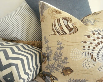 DURALEE- Sealife- Del Mar- Linen -Decorative Pillow Cover -Designer Fabric -Browns/ Blues / Tans / Creams Throw / Lumbar Pillow