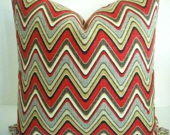 Waverly -Decorative Designer  Pillow Cover - Wave chevron  Throw /Lumbar Pillow- Grey -Red-Tan-Cream-Black