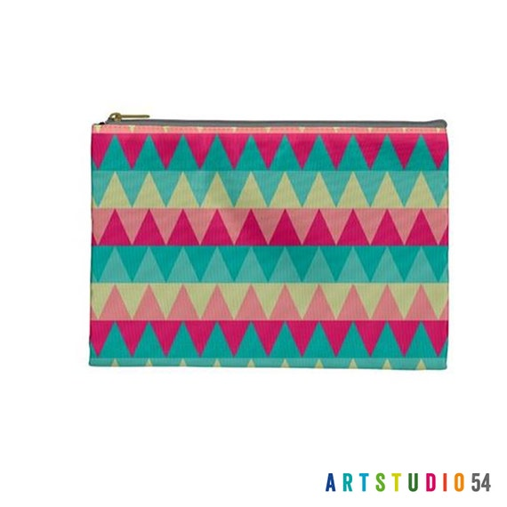 "Triangle  Zig Zag Pattern on a Pouch, Make Up Cosmetic Case Travel Bag Pencil - Pink, Blue, Pastel - 9"" X 6"" -  Large -  Made by artstudio54"
