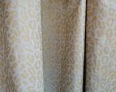 Hand Block Printed metallic gold leopard print on warm gray linen yardage