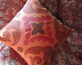 Trade Routes pillow cover hand block printed orange blue teal decorative tile motif linen moroccan home decor colorful 18x18