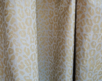 Hand Block Printed metallic gold leopard print on warm gray linen yardage