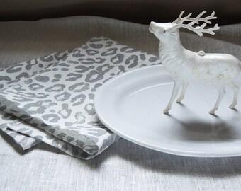 medium gray on white leopard spot hand printed linen napkins set of 4