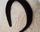 plain black hairband linen
