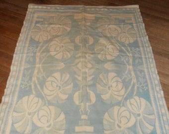 Vintage blue and cream wool blanket