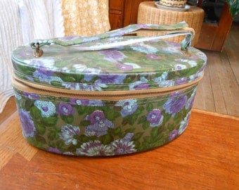 Vintage green and purple small oval cosmetic case