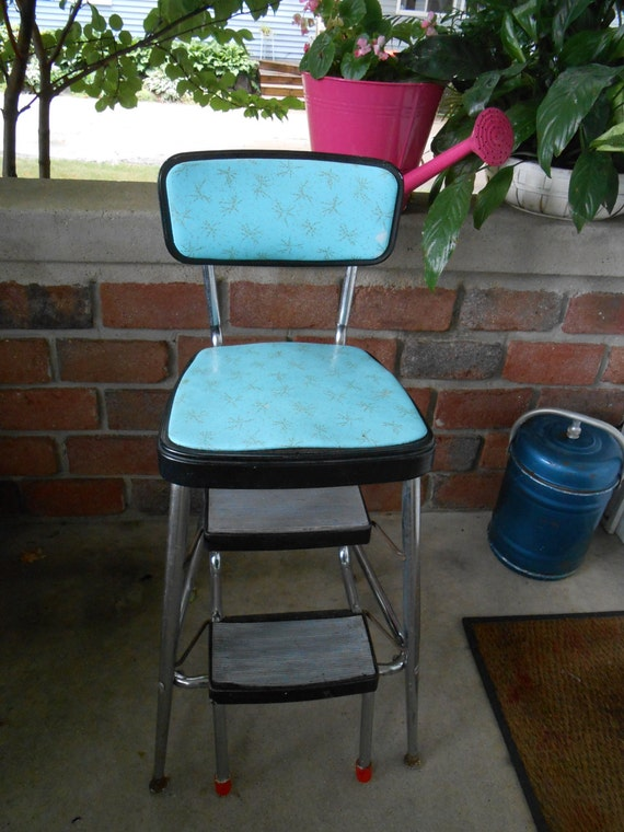 retro 50s vintage turquoise step stool kitchen by