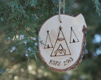 Wood Burned Christmas Ornament - Custom Name - 2016 - Teepee - Perfect Gift for Friends n Family - Rustic Wood - Couple's or Baby's First