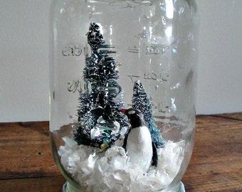 Handmade Snow Globe - Penguid with Bottle Brush Trees