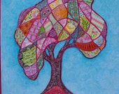 Patchwork Tree of Life Acrylic Painting