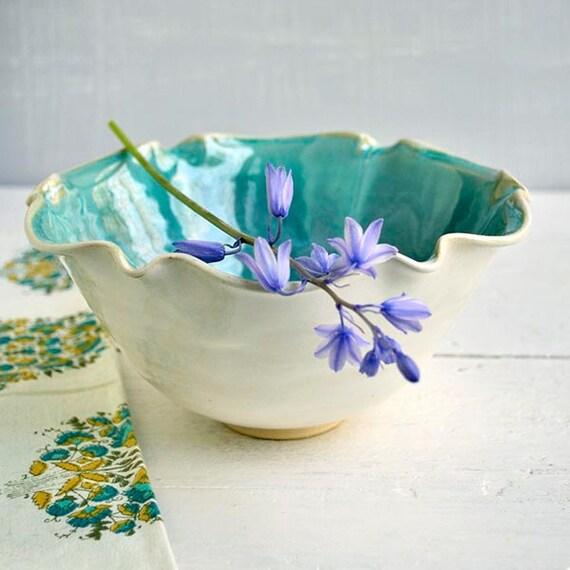 serving bowl or prep bowl ceramic flower Bowl  SECONDS Sale turquoise glaze 4 cup