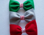Christmas Dog Bowties Dog Bow Tie doggie bowtie Collar Attachment, outfit RED GREEN GREY