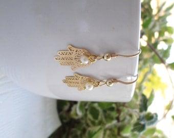 Hamsa Earrings, Gold Filled Earrings, Dangle earrings, Good Luck, Simple, Everyday earrings, Gold Hamsa Earrings
