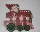 SALE Santa s Express Wooden Choo Choo Train Engine Hand Painted