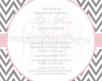 Lyla- Custom Chevron Baby Shower Invitation - PRINTABLE INVITATION DESIGN