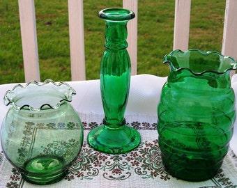 Set of 3 Vintage Verdant Green Glass Vases - New Price