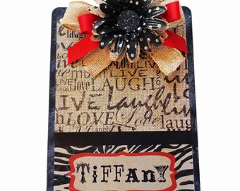 Decorated Clipboard Burlap, Black and Red Live Laugh Love Zebra