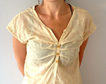 READY TO SHIP Sheer Cotton Top in Mellow Yellow Small Only, 100% Cotton Cap Sleeve Top, Women's Top