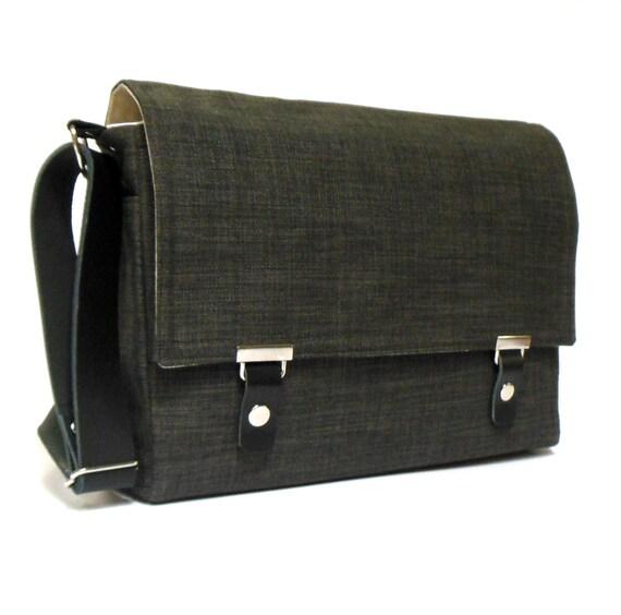 """13"""" laptop messenger bag - gray tweed"""