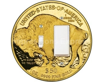 Gold Bullion Coin Toggle and Decora Rocker Switch Plate Cover