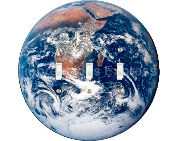 Planet Earth from Space Triple Toggle Switch Plate Cover