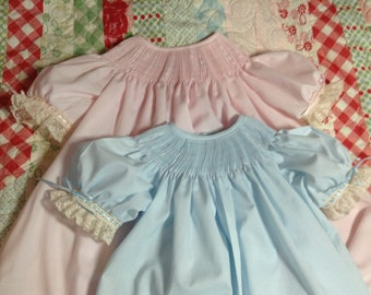 Ready to Smock Made to Order Bishop dresses with Ecru Laces 6,12,18m