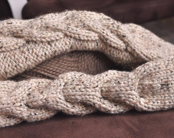 Hand knit cable chunky extra long full hand gloves knitted mittens mitts in natural beige - Freezebaby Eco-Mittens CHOOSE YOUR COLOR
