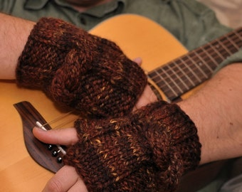 Men's KnitKnot Fingerless Gloves Hand Knit Armwarmers Wristwarmers in brown shades L - XL READY To SHIP or Choose Your color - Gift For Him