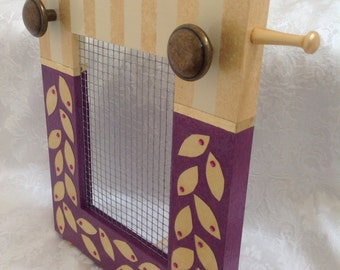 Whimsical Jewelry Screen, Hand Painted, Standing Frame in Purple and Gold AW