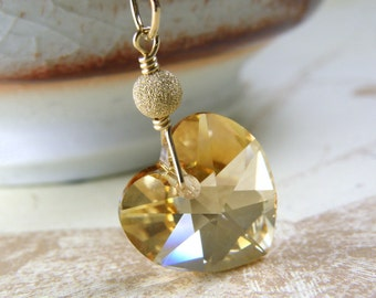 Petite Champagne Heart Pendant, Citrine Swarovski Crystal Necklace, Gold Filled, November Birthday, Teen Girl Gift, Handmade Jewelry