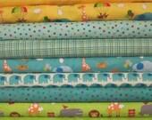 Teal Green Yellow Baby Bungle Jungle Fat Quarter Bundle Fabric - Moda - Tim and Beck