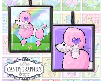 Cute Little Poodles 2 - .75 x .83 Digital Collage Sheet - Great for Scrabble Tile Pendants and Jewelry - Buy 2 Get One FREE