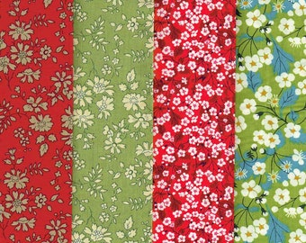 Liberty Fabric Scraps Holidays Selection of Reds and Greens Fat Quarters 402
