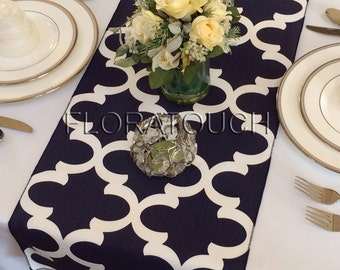 Fynn White and Navy Damask Table Runner Moroccan Quatrefoil Lattice Wedding Table Runner